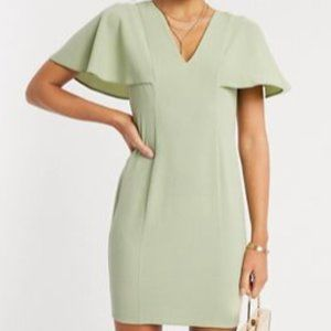 ASOS DESIGN angel sleeve v neck mini shift dress